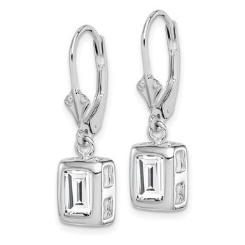Sterling Silver Rhodium 7x5 Emerald Cut CZ Leverback Earrings