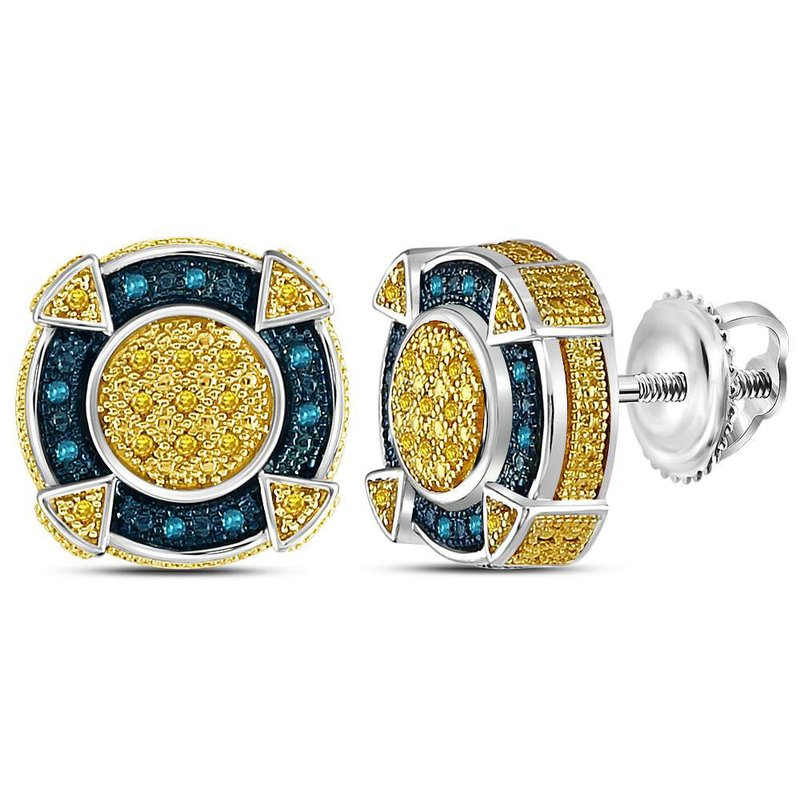 Gold-N-Diamonds, Inc. (Atlanta) Sterling Silver Mens Round Yellow Blue Color Enhanced Diamond Circle  Cluster Earrings 1/8 Cttw