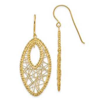 14K Oval & Web Earrings