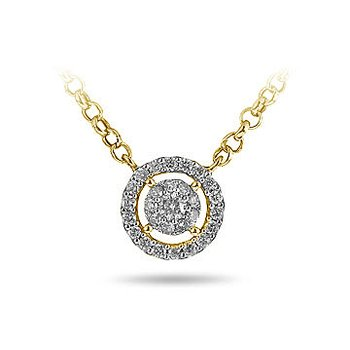 "14K YG Diamond Cluster Galaxy Necklace Pendant with Outer Ring and 16"" Chain"