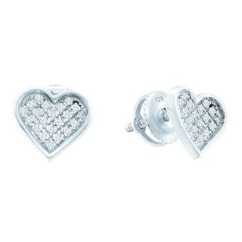 Sterling Silver Womens Round Diamond Concave Heart Cluster Screwback Earrings 1/5 Cttw