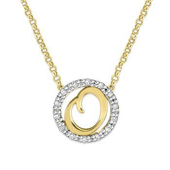 "Gold and Diamond Mini Halo ""O"" Initial Necklace"