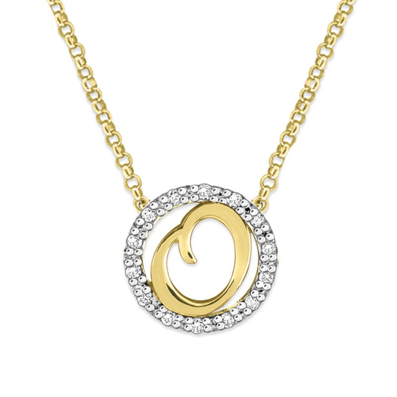 "KC Designs Gold and Diamond Mini Halo ""O"" Initial Necklace"