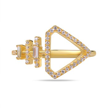 14K Triangle shape ring 43 round Diamonds 0.17C & 2 baguette 0.0250C