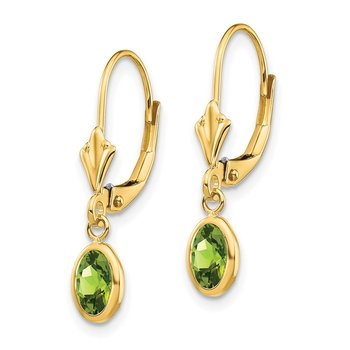 14k 6x4 Oval Bezel August/Peridot Leverback Earrings