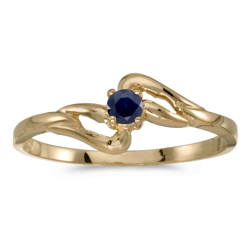 Color Merchants 10k Yellow Gold Round Sapphire Ring