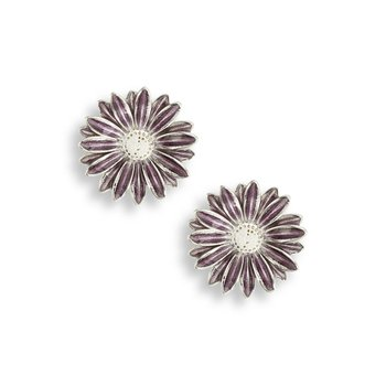 Purple African Daisy Stud Earrings.Sterling Silver
