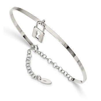 Sterling Silver Rhod-plated Lock Charm up to 8.5in. w/Chain Bangle