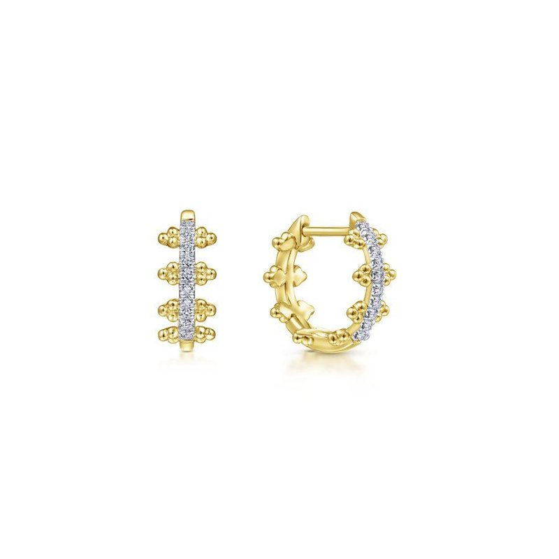Gabriel Fashion Bestsellers 14K Yellow Gold Beaded Pavé 10mm Diamond Huggie Earrings