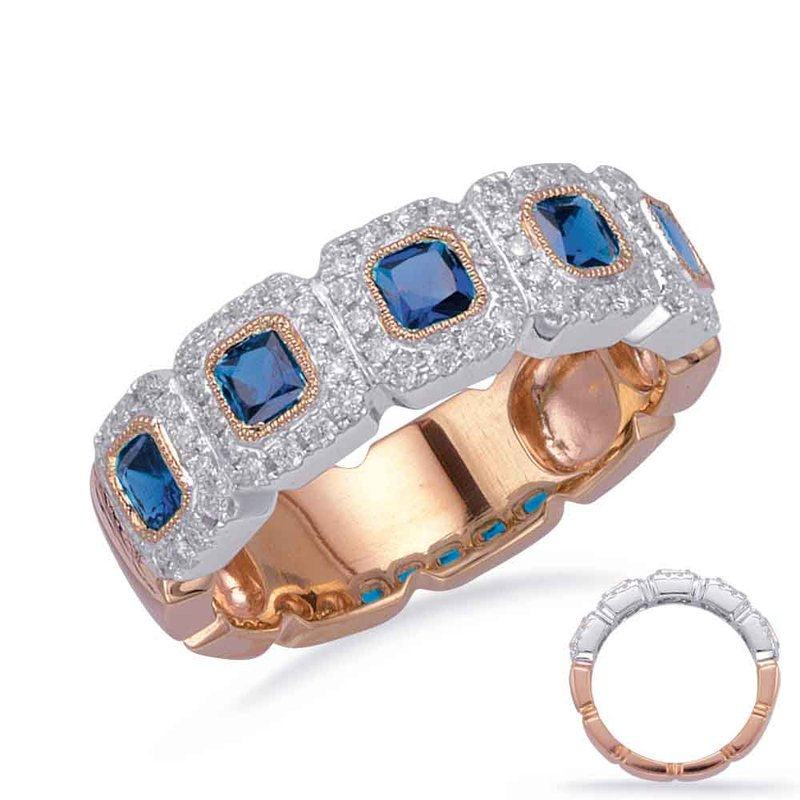 S. Kashi  & Sons Rose & White Gold Sapphire & Dia Ring