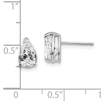 14k White Gold 8x5mm Pear Cubic Zirconia Earrings