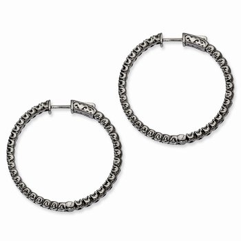 Sterling Silver Black-plated CZ In and Out Round Hoop Earrings