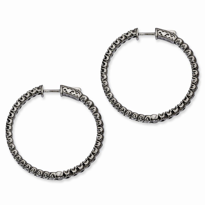 Quality Gold Sterling Silver Black-plated CZ In and Out Round Hoop Earrings