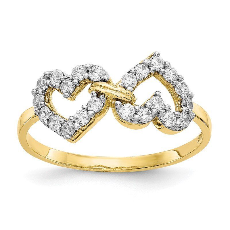 Quality Gold 10k Double Heart CZ Ring