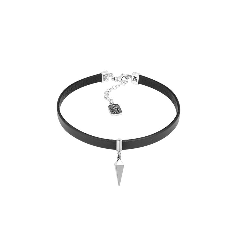 King Baby Leather Choker With Pyramid Spike
