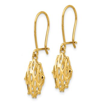 14K Gold Diamond Cut Dangle Kidney Back Earrings