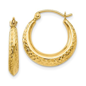 14K Textured Hollow Hoop Earrings
