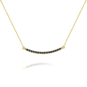 14k Gold and Black Diamond Bar Necklace