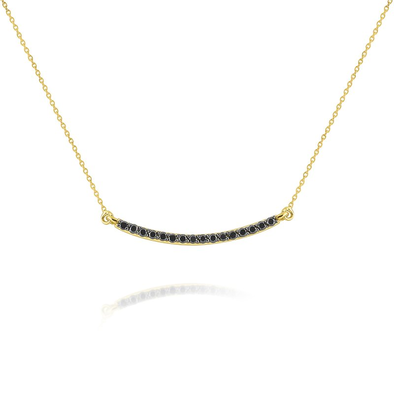 KC Designs 14k Gold and Black Diamond Bar Necklace