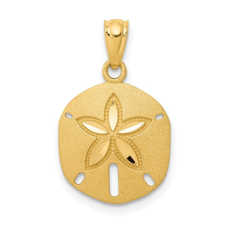 Quality Gold 14k Satin Diamond-cut Sand Dollar Pendant