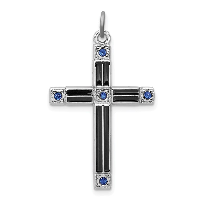 Quality Gold Sterling Silver Rhodium-plated Enameled & Blue CZ Cross Pendant