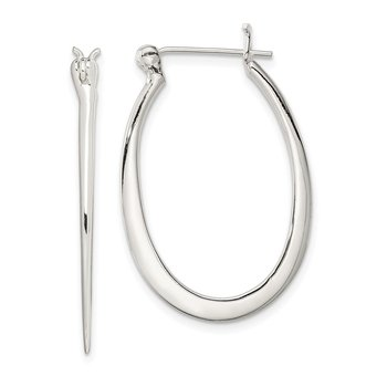Sterling Silver Tapered Oval Hoop Earrings