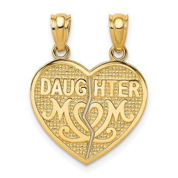 14k Satin and Polished DAUGHTER-MOM Break Apart Heart Pendant