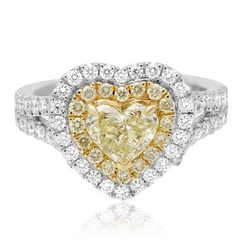 One Carat Yellow Diamond Heart Ring