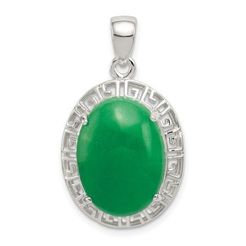 Sterling Silver Jade Greek Key Pendant