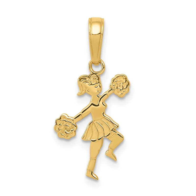 Quality Gold 14k Cheerleader with Pom-Poms Pendant