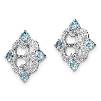 Sterling Silver Rhodium Diam. & Swiss Blue Topaz Earring Jacket