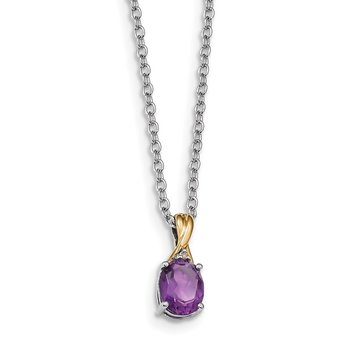 SS & 14k True Two-tone Amethyst & Diamond Necklace