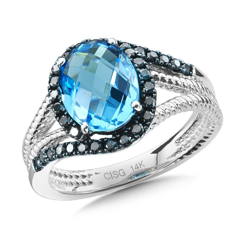 Colore Oro Blue Topaz & Blue Diamond Ring in 14K White Gold