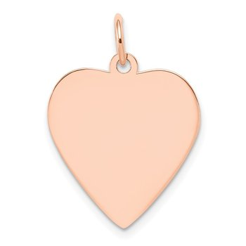 14k Rose Gold Plain .018 Gauge Engraveable Heart Disc Charm