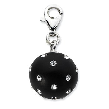 Sterling Silver Click-on Black Ferido & Stellux Crystal Ball Charm