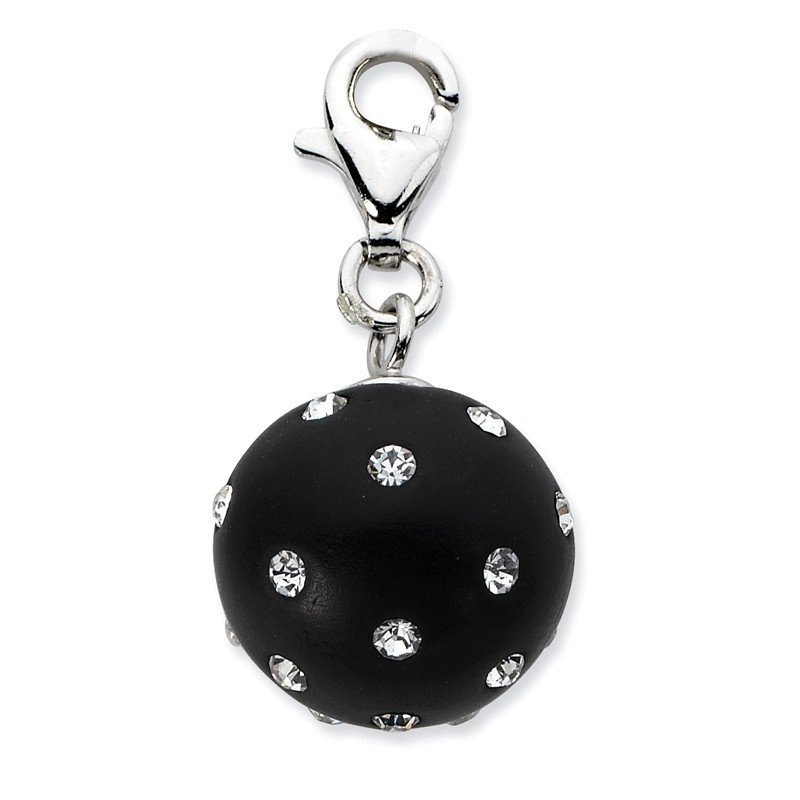 Quality Gold Sterling Silver Click-on Black Ferido & Stellux Crystal Ball Charm