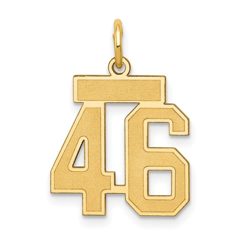 Quality Gold 14k Small Satin Number 46 Charm
