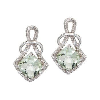 14K White Gold Green Amethyst and Diamond Earrings