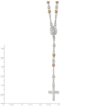 Sterling Silver Yellow & Rose Flash Gold-plated Rosary Necklace