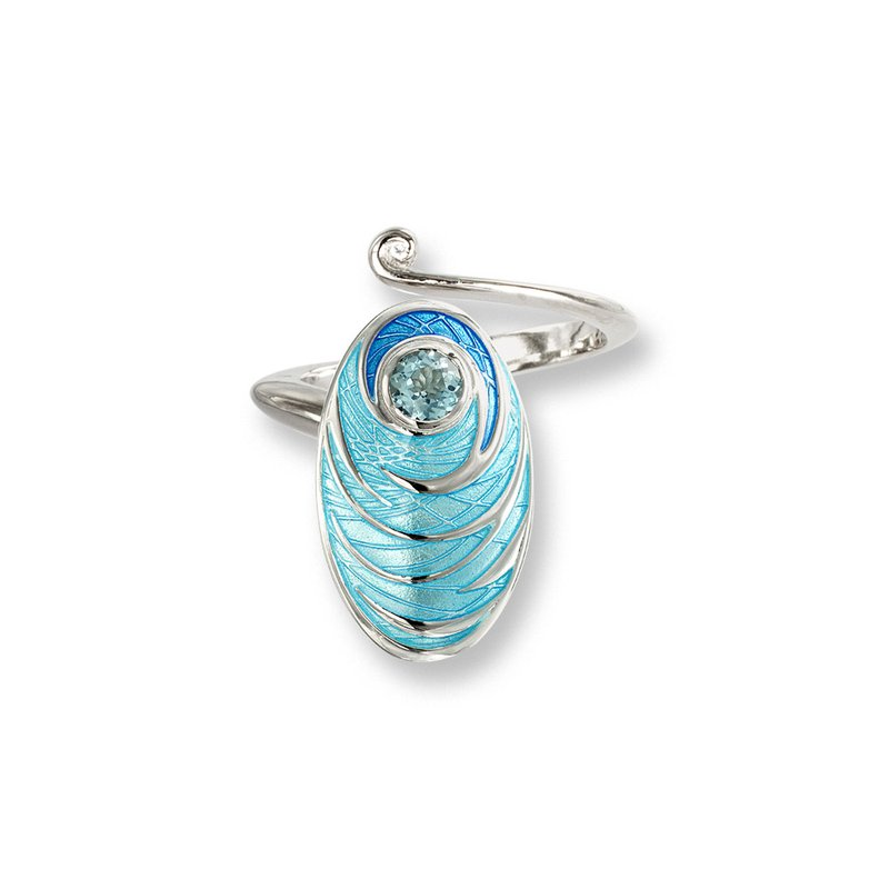 Nicole Barr Designs Blue Oval Ring.Sterling Silver-Blue Topaz