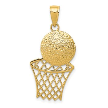14K Diamond-Cut Basketball and Net Charm
