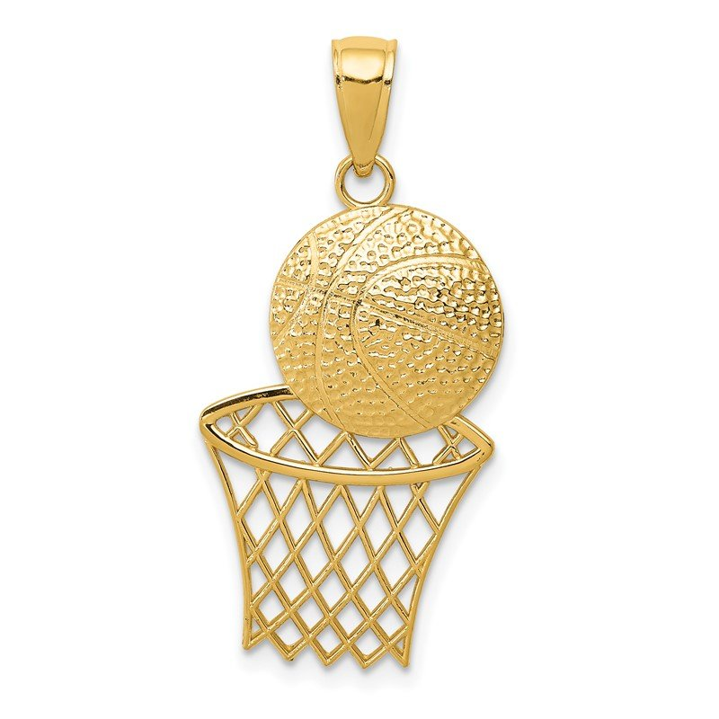 Quality Gold 14K Diamond-Cut Basketball and Net Charm
