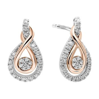 Diamond Swirling Cluster Love Knot Earrings in 14k Yellow Gold & Sterling Silver 1/5 ctw)