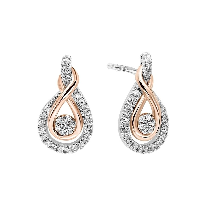 Gems One Diamond Swirling Cluster Love Knot Earrings in 14k Yellow Gold & Sterling Silver 1/5 ctw)