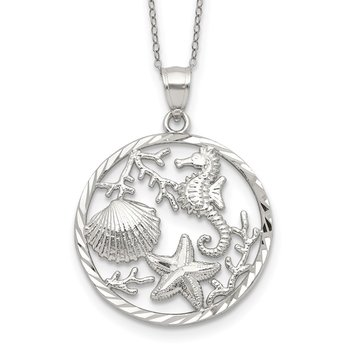 Sterling Silver Seahorse, Starfish and Shell Pendant