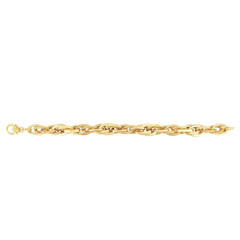Royal Chain 14K Gold Elongated Interlocking Oval Heritage Link Bracelet