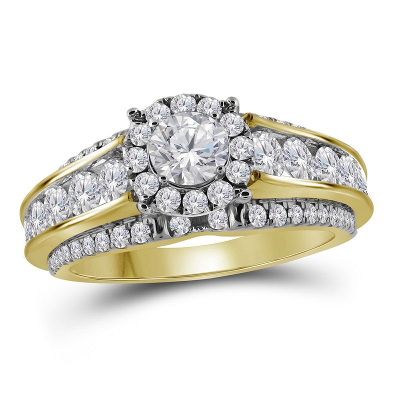 Gold-N-Diamonds, Inc. (Atlanta) 14kt Yellow Gold Womens Round Diamond Solitaire Bridal Wedding Engagement Ring 2.00 Cttw