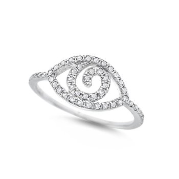 Diamond Evil Eye Ring in 14K White Gold with 49 Diamonds Weighing .17ct tw