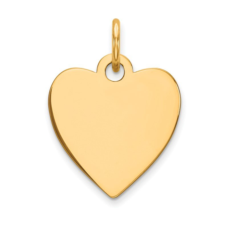 Quality Gold 14k Plain .013 Gauge Engravable Heart Disc Charm