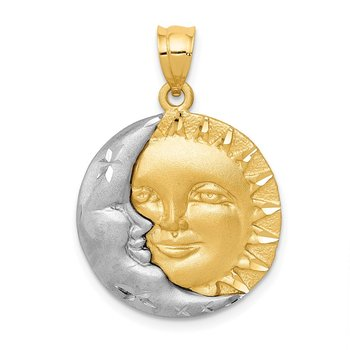 14k Two-tone Sun and Moon Charm